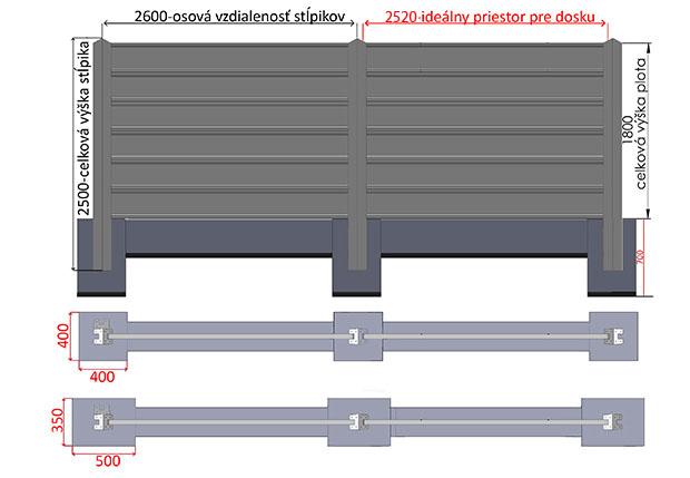 plot 1800 + 2,50 m + zaklady