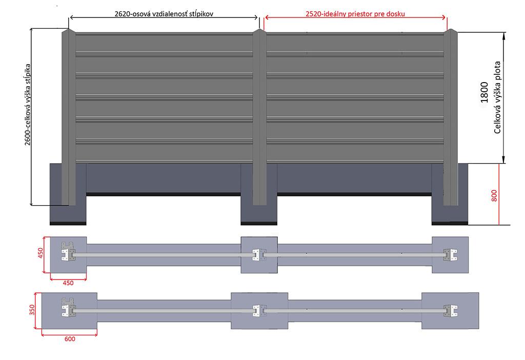 plot 1800 + 2,60 m + zaklady